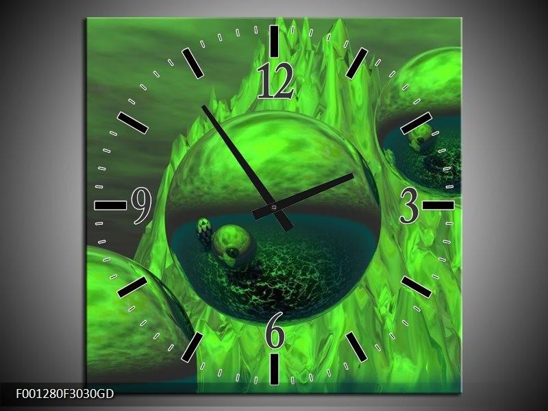 Wandklok op Glas Abstract | Kleur: Groen, Grijs | F001280CGD