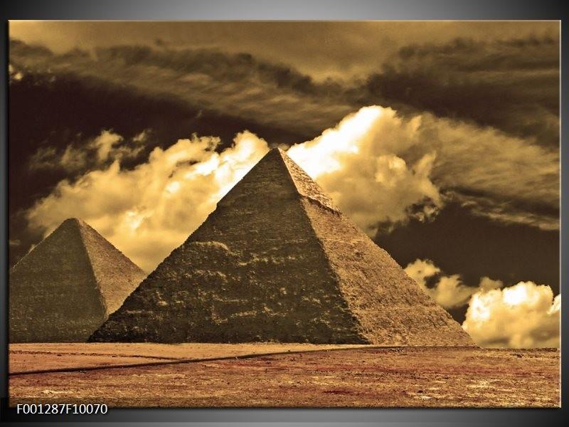 Glas schilderij Piramide   Geel, Wit, Sepia
