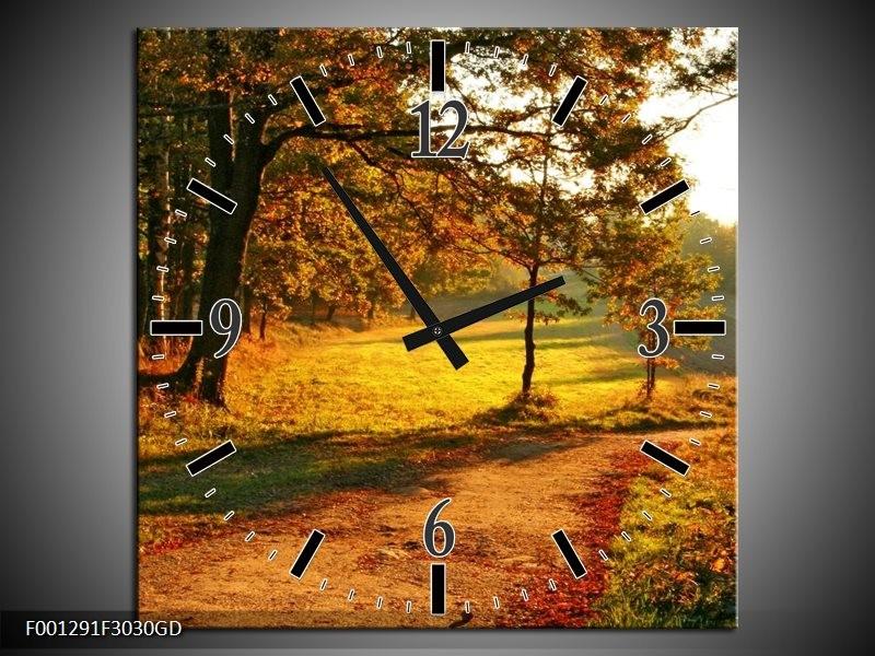 Wandklok op Glas Natuur | Kleur: Groen, Geel, Bruin | F001291CGD