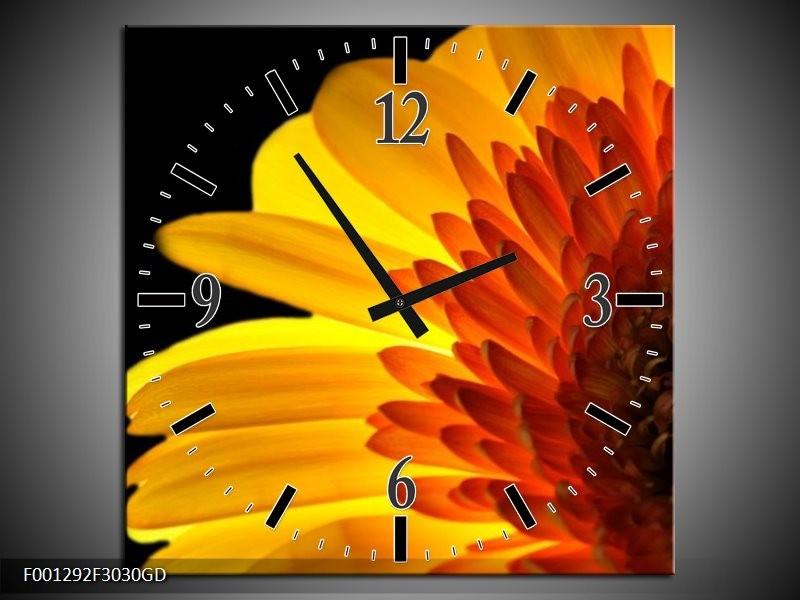 Wandklok op Glas Bloem | Kleur: Geel, Rood, Zwart | F001292CGD