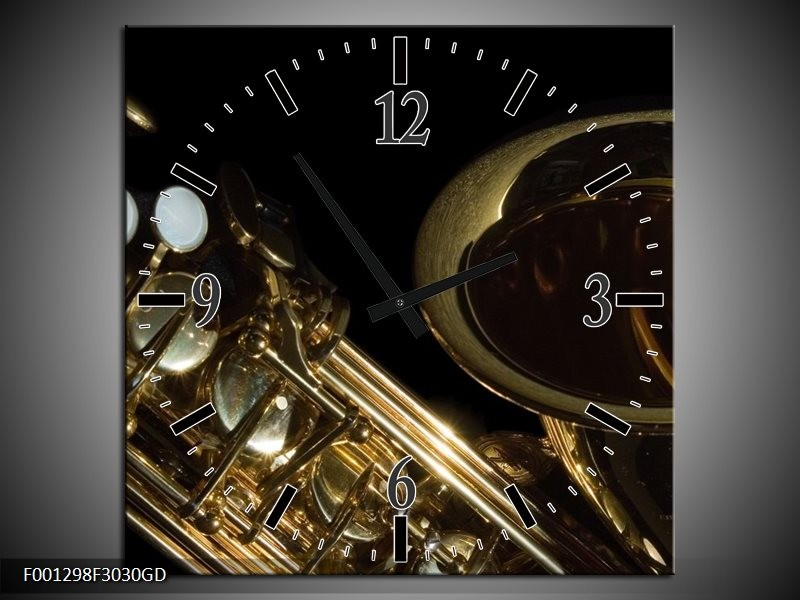 Wandklok op Glas Muziek   Kleur: Goud, Zwart   F001298CGD
