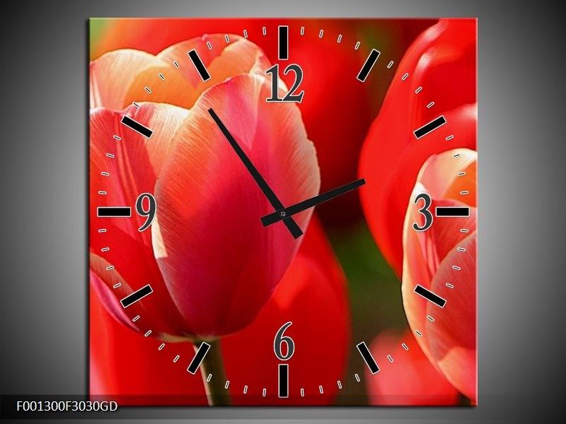 Wandklok op Glas Tulpen | Kleur: Rood, Wit, Zwart | F001300CGD