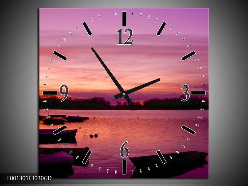 Wandklok op Glas Natuur | Kleur: Paars, Roze, Zwart | F001301CGD