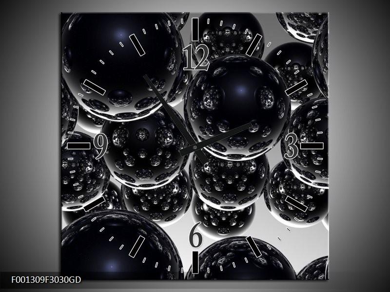 Wandklok op Glas Ballen | Kleur: Zwart, Zilver | F001309CGD