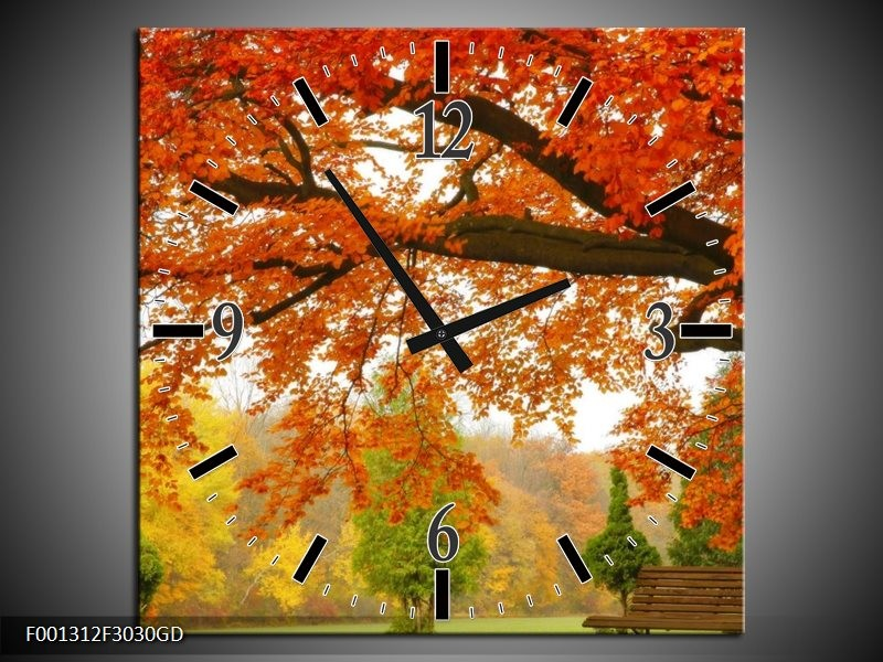 Wandklok op Glas Herfst | Kleur: Oranje, Groen, Geel | F001312CGD