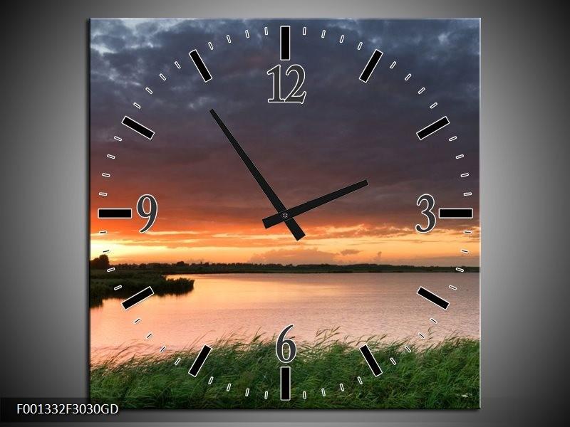 Wandklok op Glas Zonsondergang | Kleur: Wit, Geel, Paars | F001332CGD