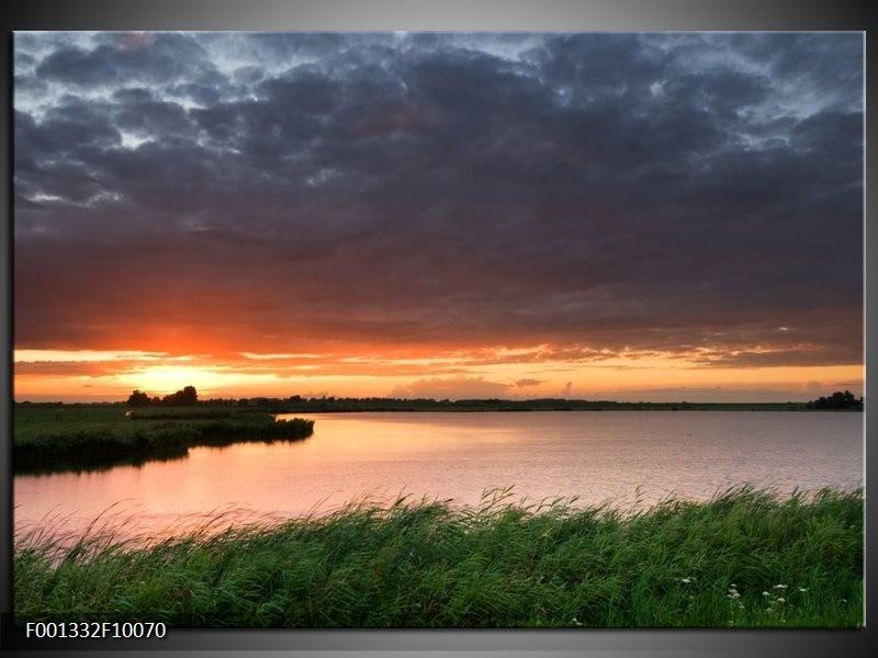 Glas schilderij Zonsondergang | Wit, Geel, Paars