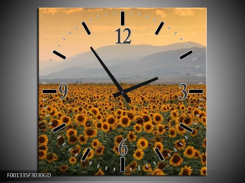 Wandklok op Glas Zonnebloemen   Kleur: Geel, Bruin, Grijs   F001335CGD