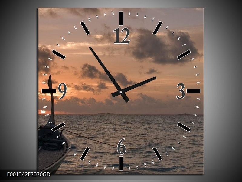 Wandklok op Glas Zee   Kleur: Grijs, Geel, Grijs   F001342CGD