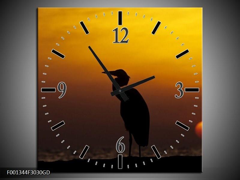 Wandklok op Glas Vogels   Kleur: Zwart, Geel   F001344CGD