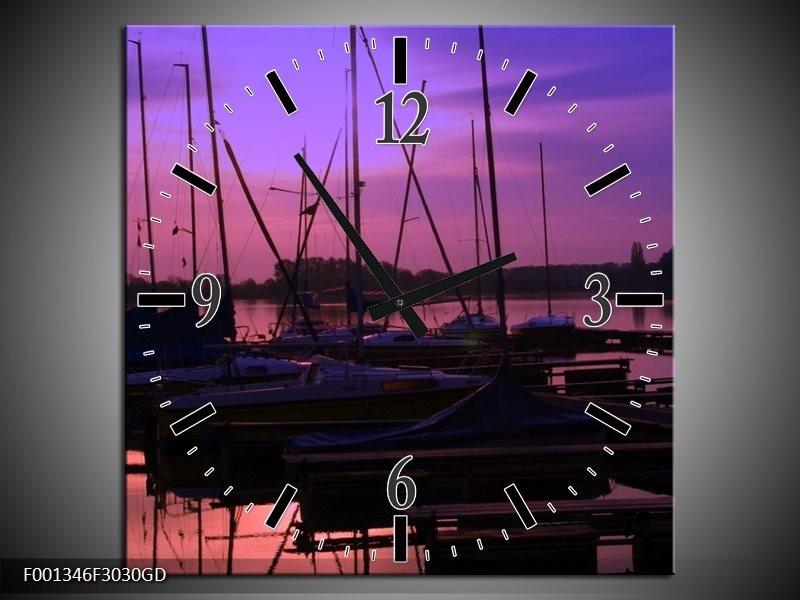 Wandklok op Glas Boot | Kleur: Paars, Zwart, Blauw | F001346CGD