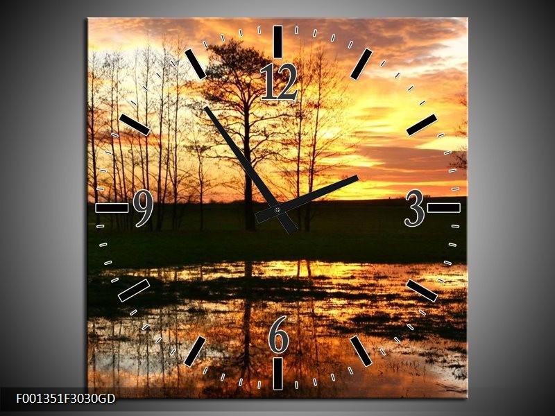 Wandklok op Glas Natuur   Kleur: Geel, Zwart, Oranje   F001351CGD