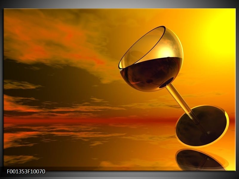 Glas schilderij Wijn | Oranje, Rood, Zwart