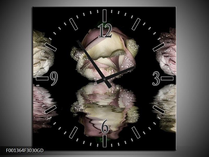 Wandklok op Glas Roos   Kleur: Wit, Grijs, Zwart   F001364CGD