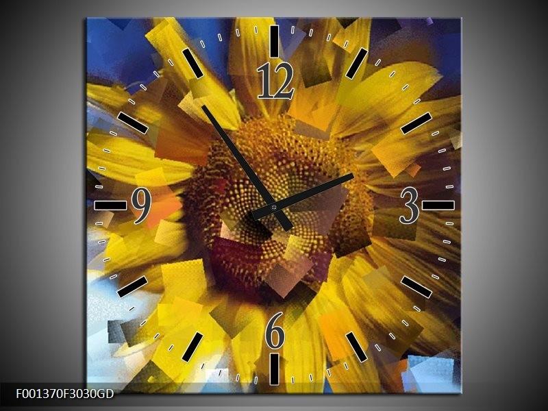 Wandklok op Glas Abstract | Kleur: Geel, Blauw | F001370CGD