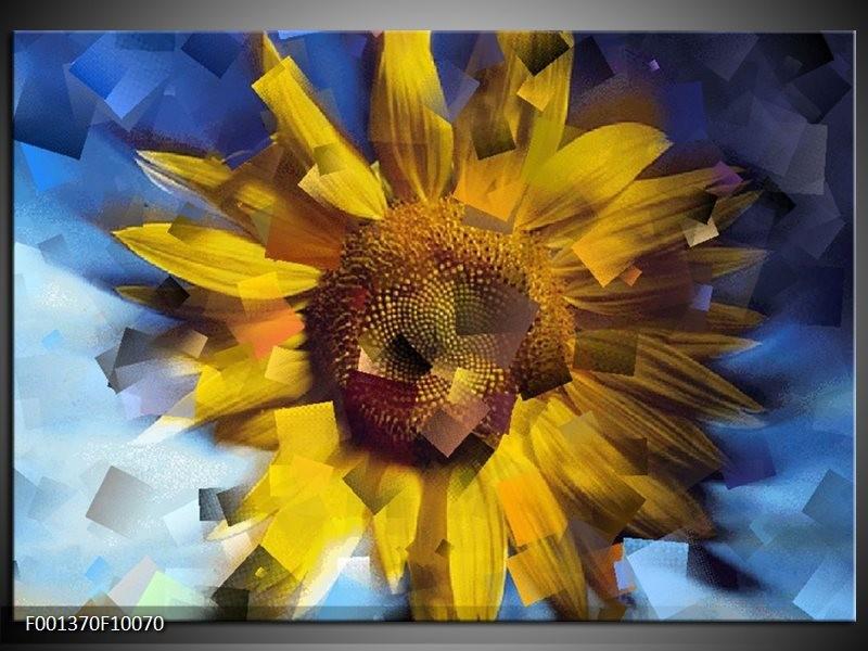 Glas schilderij Abstract | Geel, Blauw