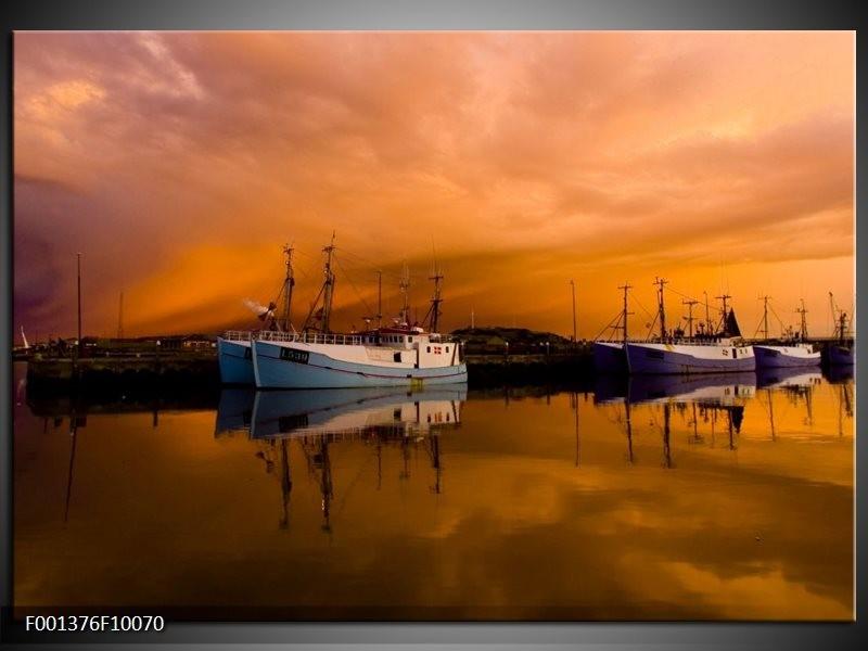 Foto canvas schilderij Boot | Bruin, Wit