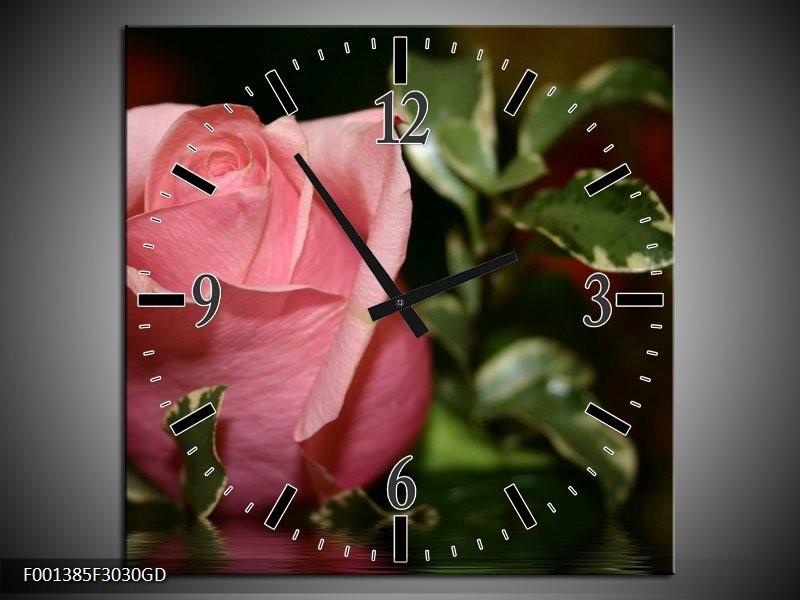 Wandklok op Glas Roos | Kleur: Rood, Groen, Zwart | F001385CGD