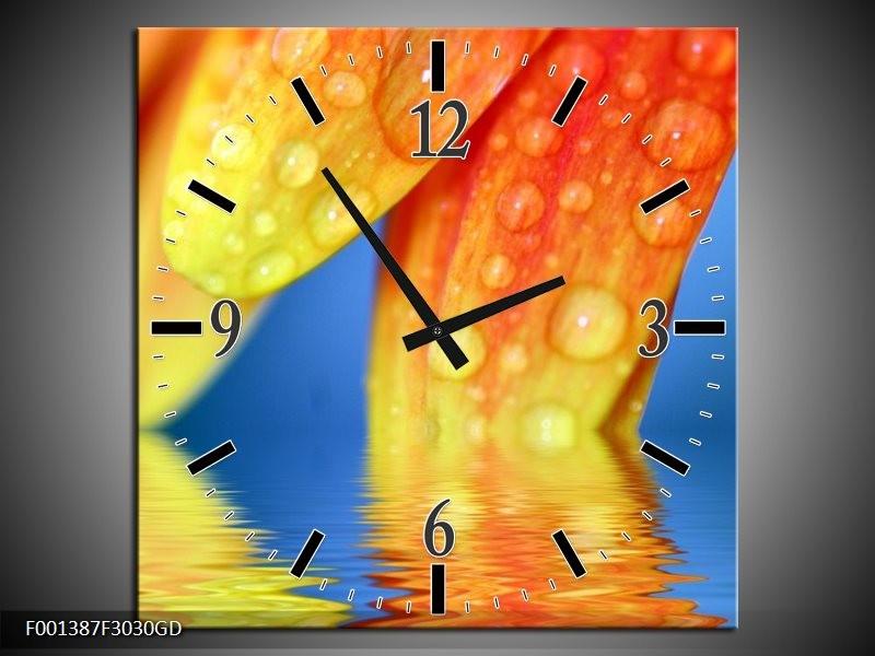 Wandklok op Glas Druppels | Kleur: Geel, Blauw, Oranje | F001387CGD