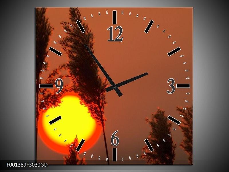 Wandklok op Glas Zonsondergang | Kleur: Geel, Bruin, Oranje | F001389CGD