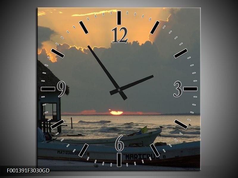Wandklok op Glas Zee   Kleur: Grijs, Geel   F001391CGD