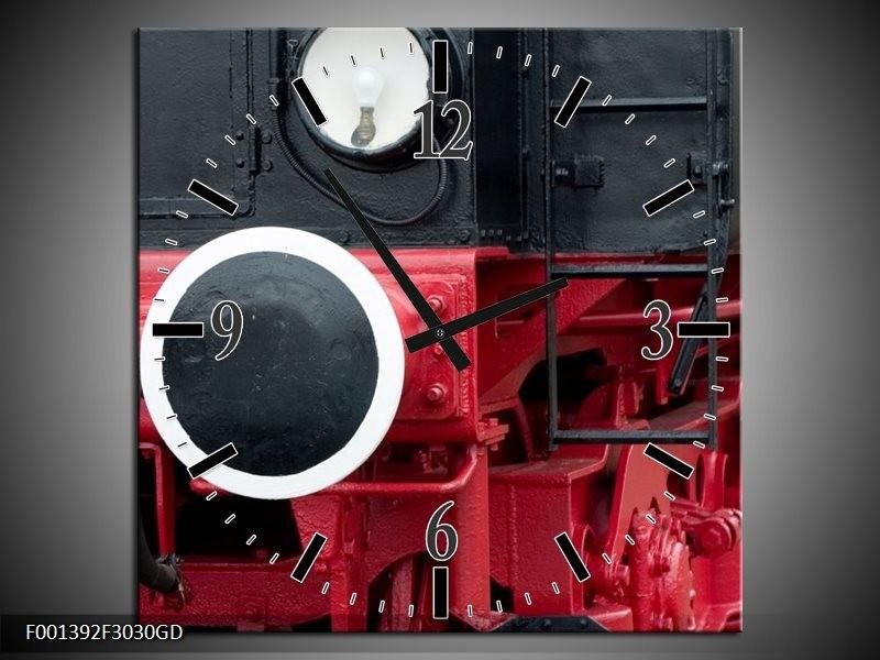Wandklok op Glas Trein | Kleur: Rood, Zwart, Wit | F001392CGD