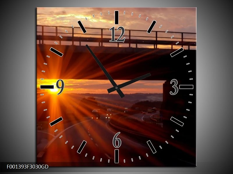 Wandklok op Glas Zonsondergang | Kleur: Geel, Oranje, Zwart | F001393CGD
