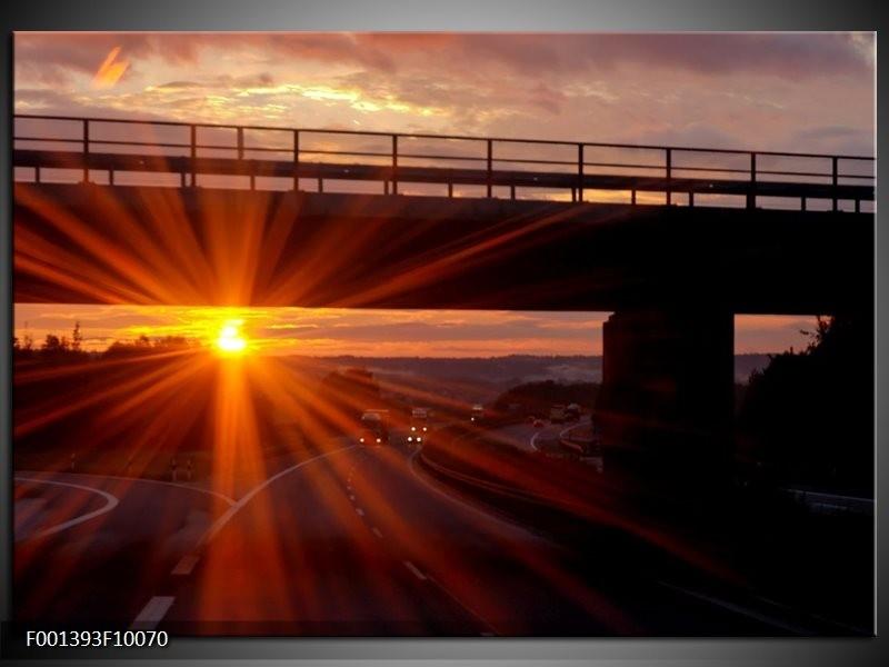 Glas schilderij Zonsondergang   Geel, Oranje, Zwart