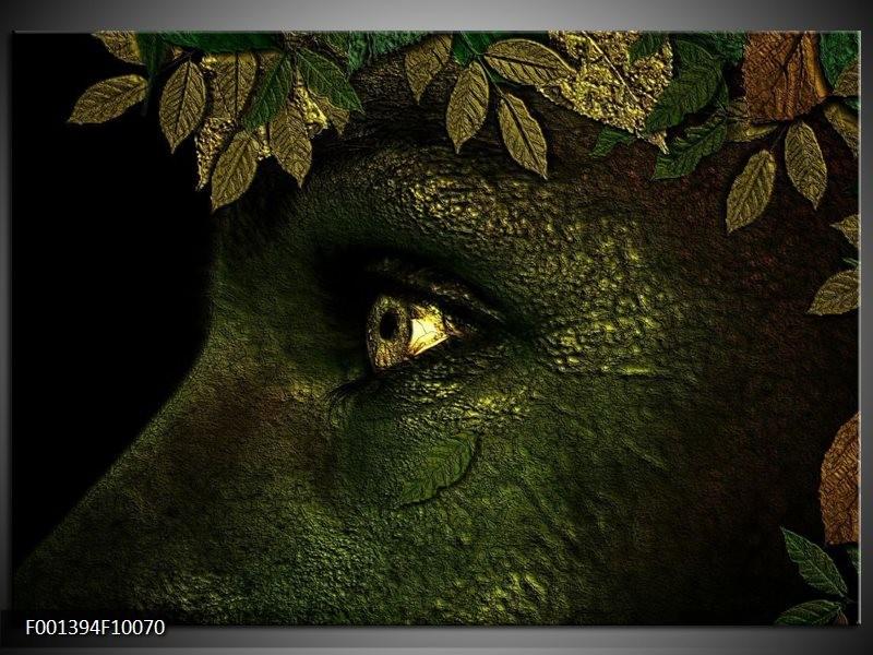 Foto canvas schilderij Ogen | Groen, Geel, Zwart