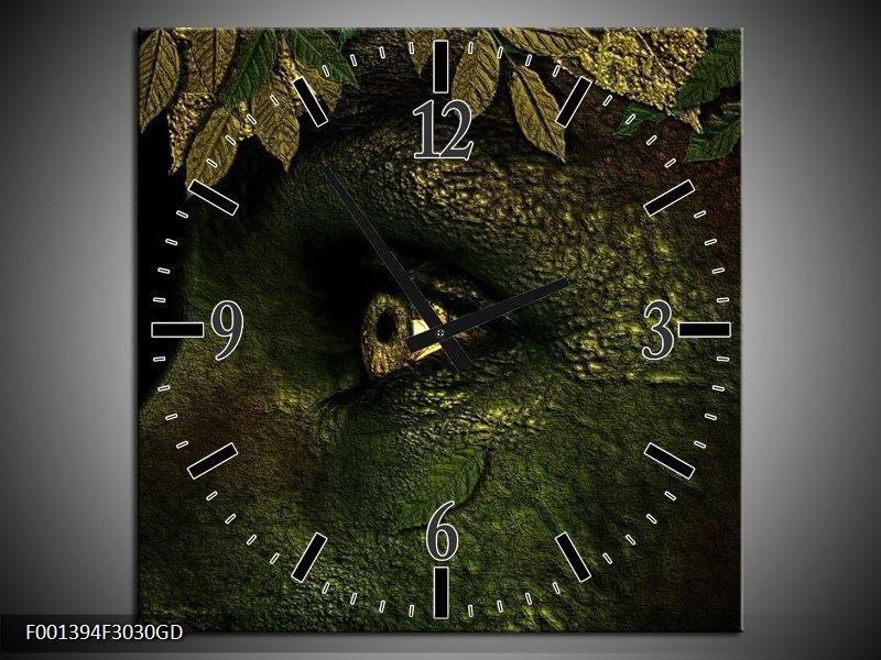 Wandklok op Glas Ogen | Kleur: Groen, Geel, Zwart | F001394CGD