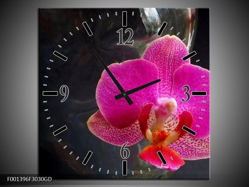 Wandklok op Glas Orchidee   Kleur: Rood, Zwart, Grijs   F001396CGD