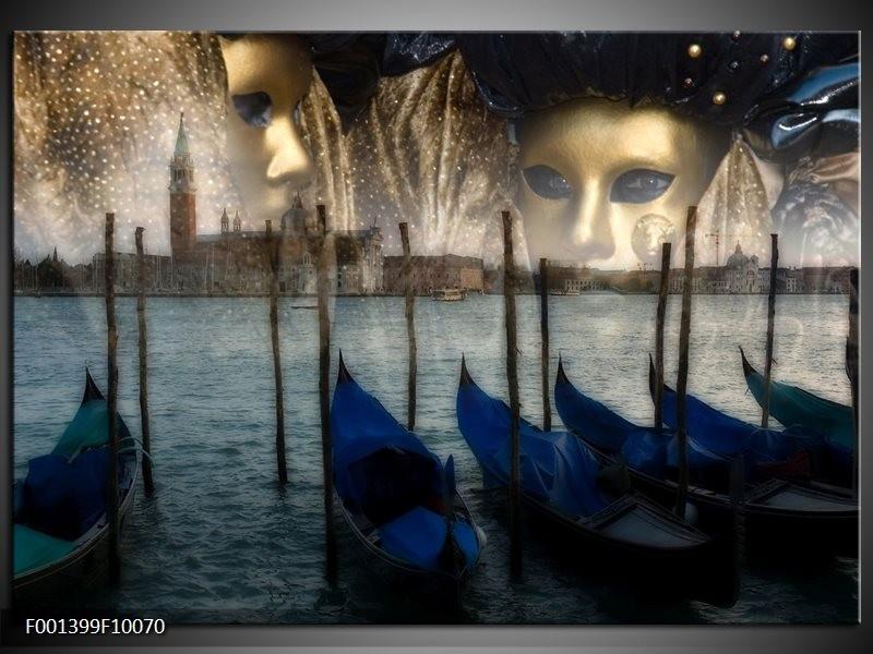 Foto canvas schilderij Venetie | Grijs, Goud, Blauw