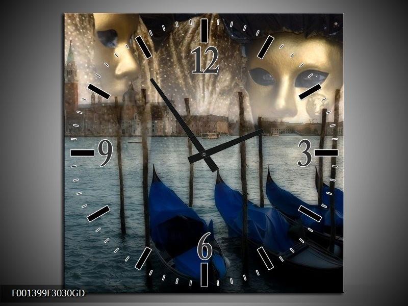 Wandklok op Glas Venetie   Kleur: Grijs, Goud, Blauw   F001399CGD