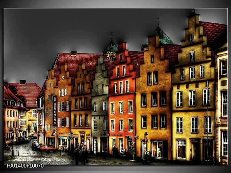 Foto canvas schilderij Gebouw | Rood, Geel, Grijs