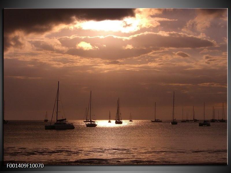 Foto canvas schilderij Zee | Grijs, Wit
