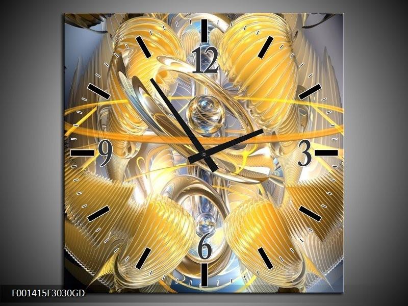 Wandklok op Glas Abstract | Kleur: Geel, Zilver, Grijs | F001415CGD