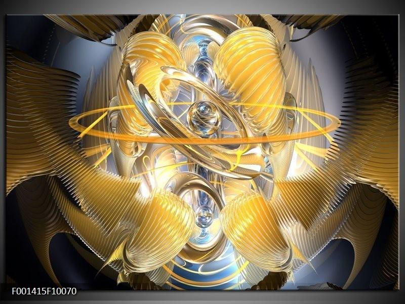 Glas schilderij Abstract | Geel, Zilver, Grijs