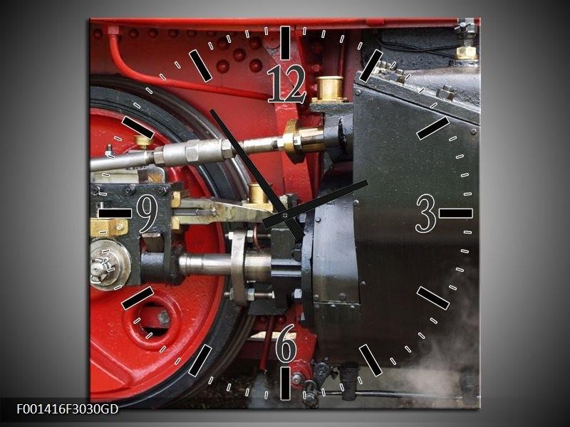 Wandklok op Glas Trein   Kleur: Rood, Zwart, Grijs   F001416CGD