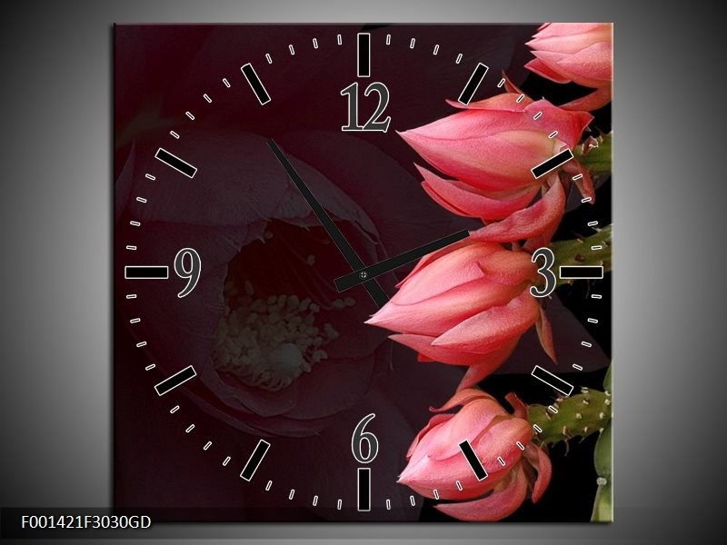 Wandklok op Glas Bloem | Kleur: Rood, Groen | F001421CGD