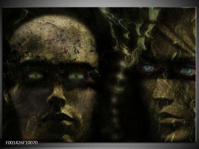 Foto canvas schilderij Gezichten | Grijs, Groen