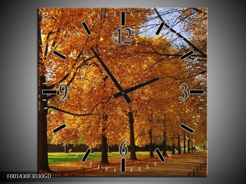 Wandklok op Glas Bomen | Kleur: Geel, Oranje | F001430CGD