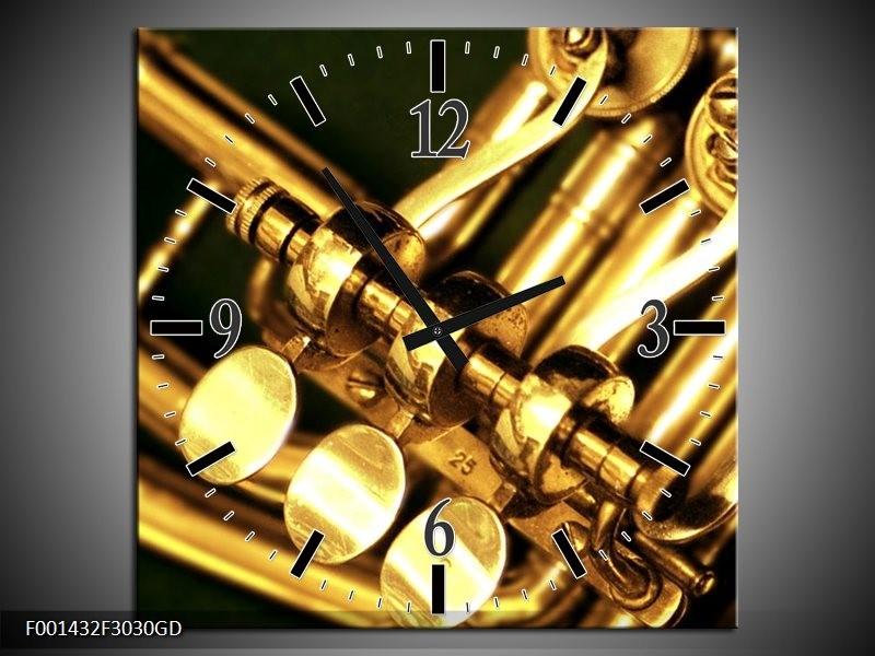 Wandklok op Glas Instrument   Kleur: Geel, Goud, Zwart   F001432CGD