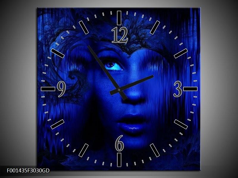 Wandklok op Glas Gezichten | Kleur: Blauw, Zwart | F001435CGD
