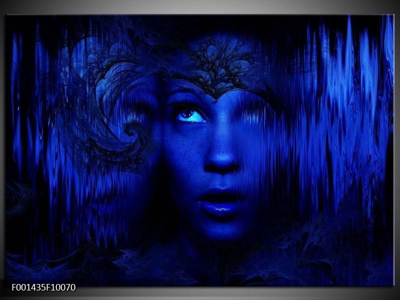 Glas schilderij Gezichten | Blauw, Zwart