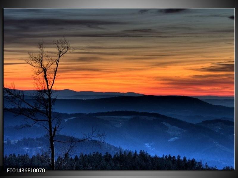 Glas schilderij Natuur | Blauw, Oranje, Grijs