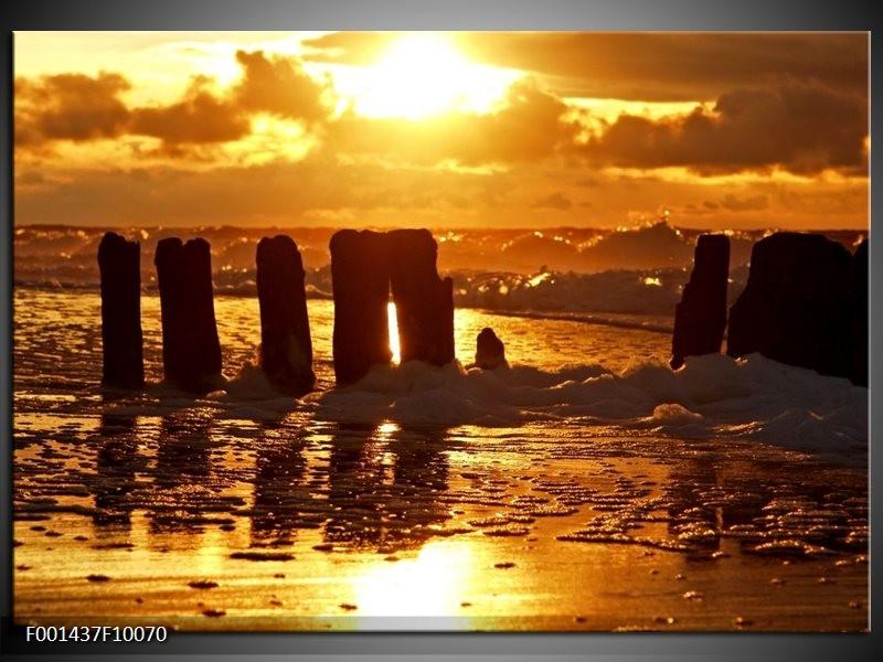 Glas schilderij Zee | Bruin, Geel, Zwart