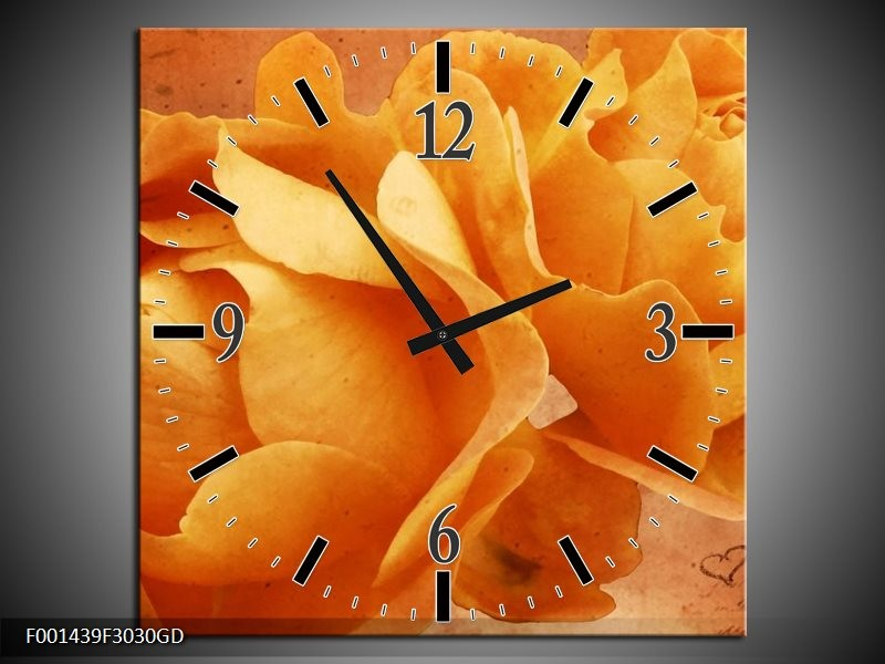 Wandklok op Glas Roos | Kleur: Bruin, Oranje, Geel | F001439CGD