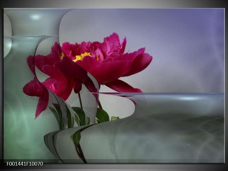 Foto canvas schilderij Bloem | Rood, Grijs