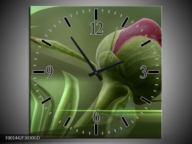 Wandklok op Glas Bloem | Kleur: Groen, Paars | F001442CGD