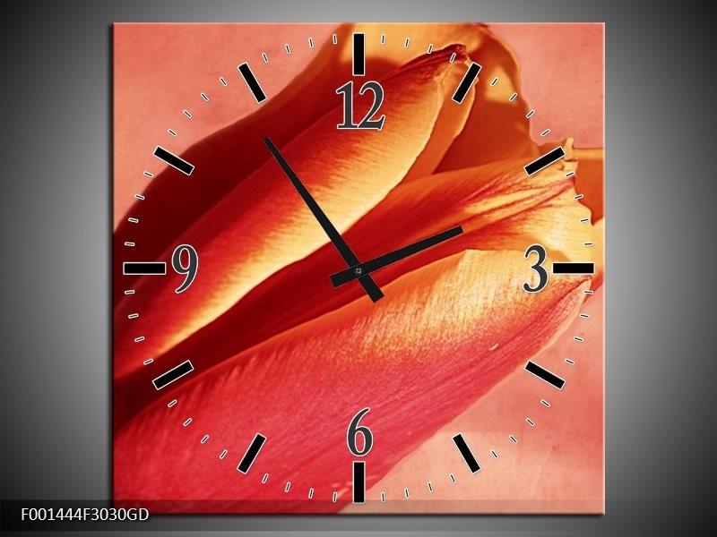 Wandklok op Glas Tulp | Kleur: Rood, Oranje, Geel | F001444CGD